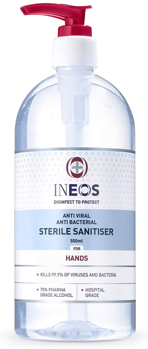 Hospital Grade Hand Sanitiser (500ml) by INEOS Hygienics. Made with 75% Pharma Grade Alcohol, Kills 99.9% of viruses and bacteria