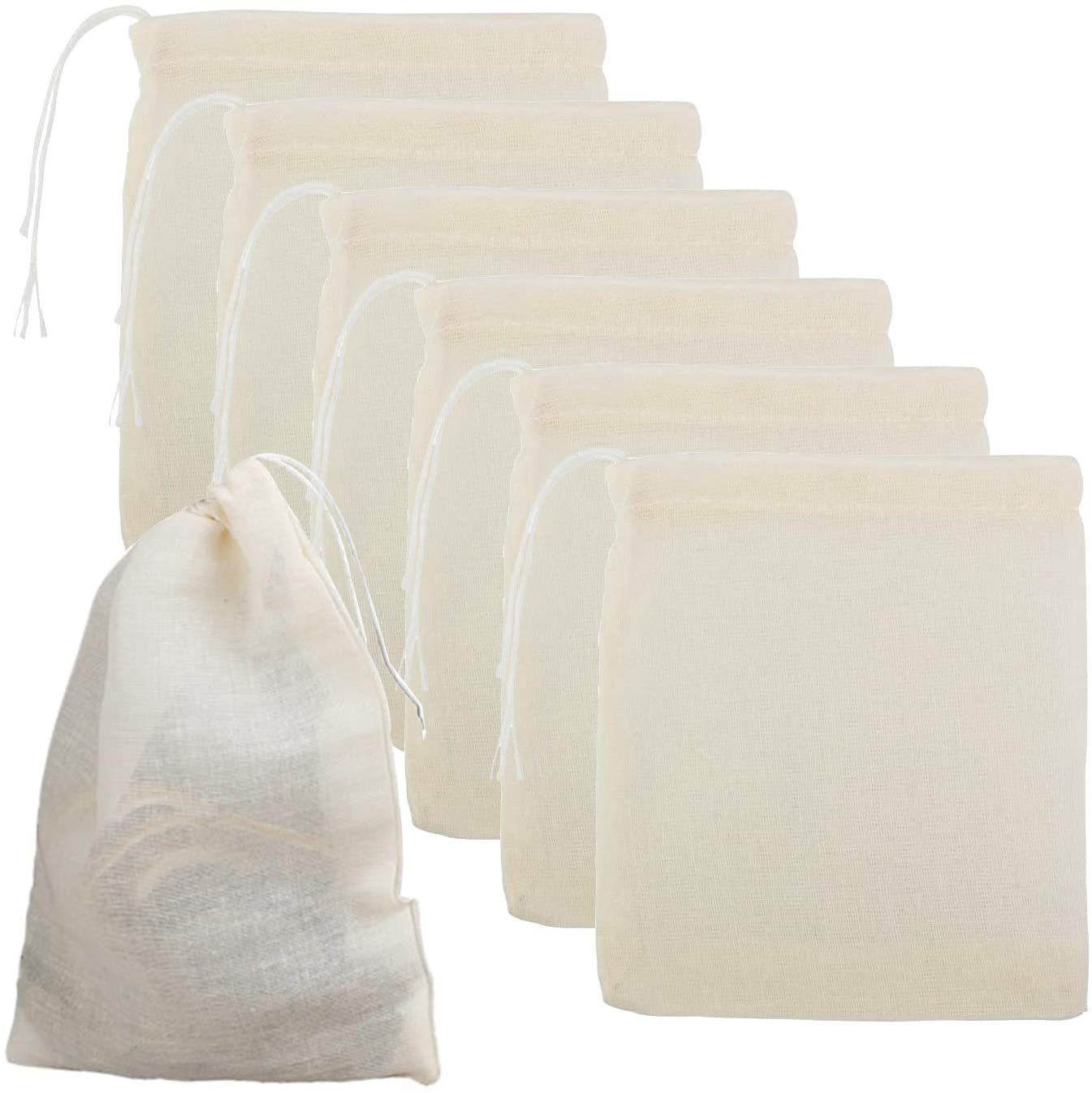 nuoshen 50 Pack Cotton Muslin Drawstring Bags,10 * 8cm 100% Cotton Reusable Mesh Bags Tea Coffee Filter Spices Storage